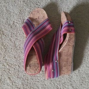 Cute colorful wedge sandals
